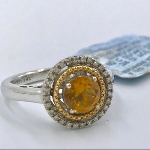 NEW, Citrine 3/4 ct Ring with Diamonds & 14k Gold